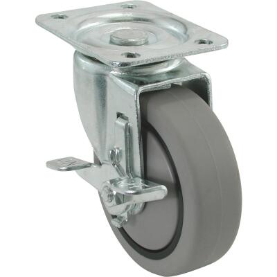 Shepherd 4 In. Thermoplastic Swivel Plate Caster with Brake