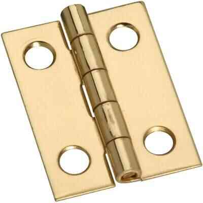 National 3/4 In. x 1 In. Narrow Brass Decorative Hinge (4-Pack)