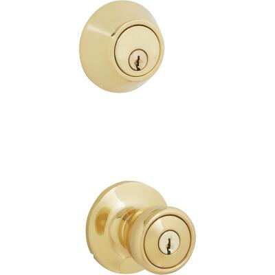 Steel Pro Polished Brass Deadbolt and Door Knob Combo