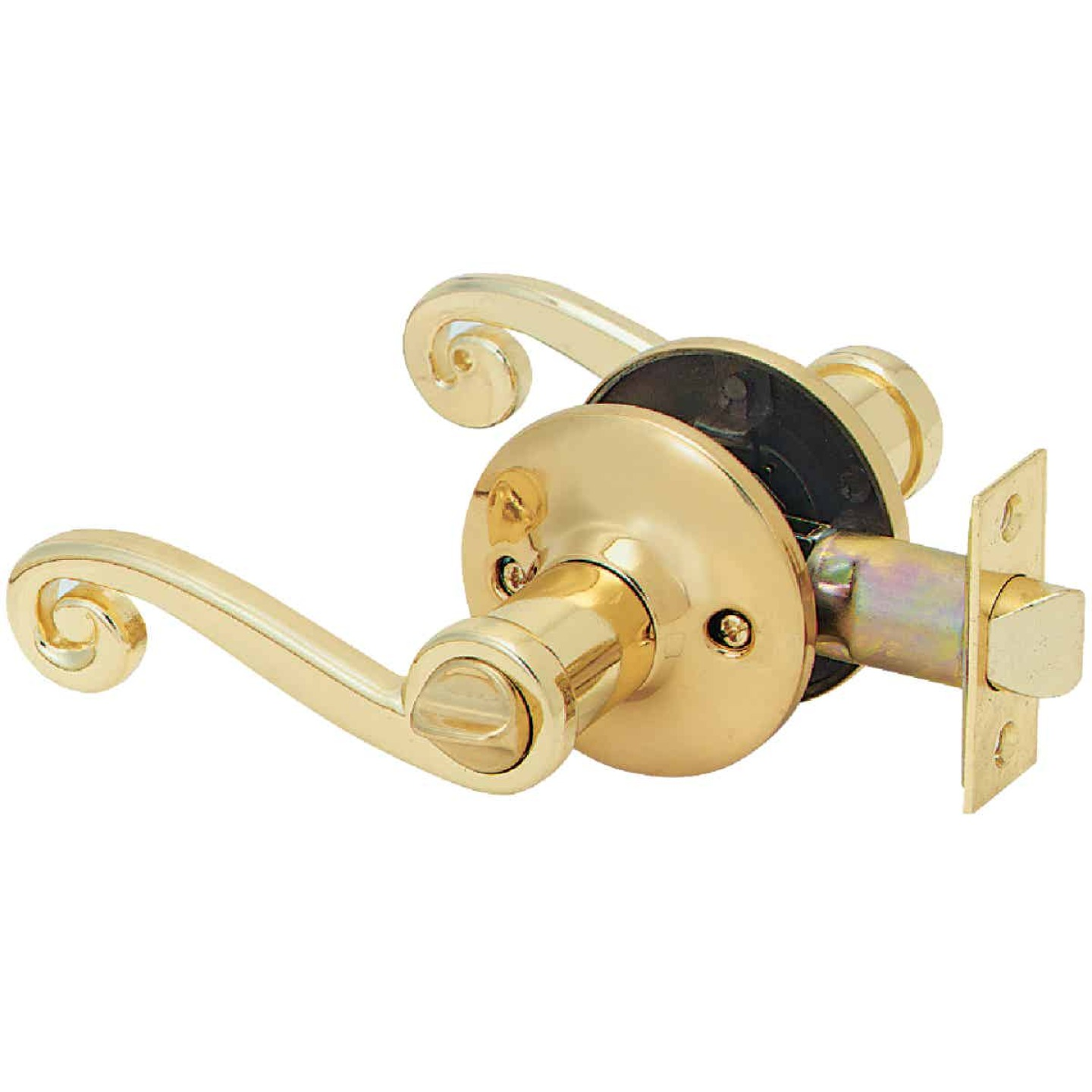 Steel Pro Polished Brass Scroll Privacy Door Lever  Image 1