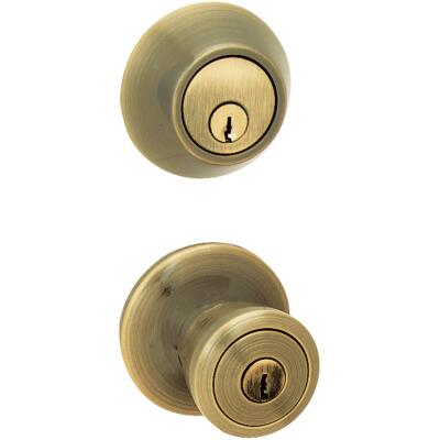 Steel Pro Antique Brass Deadbolt and Door Knob Combo