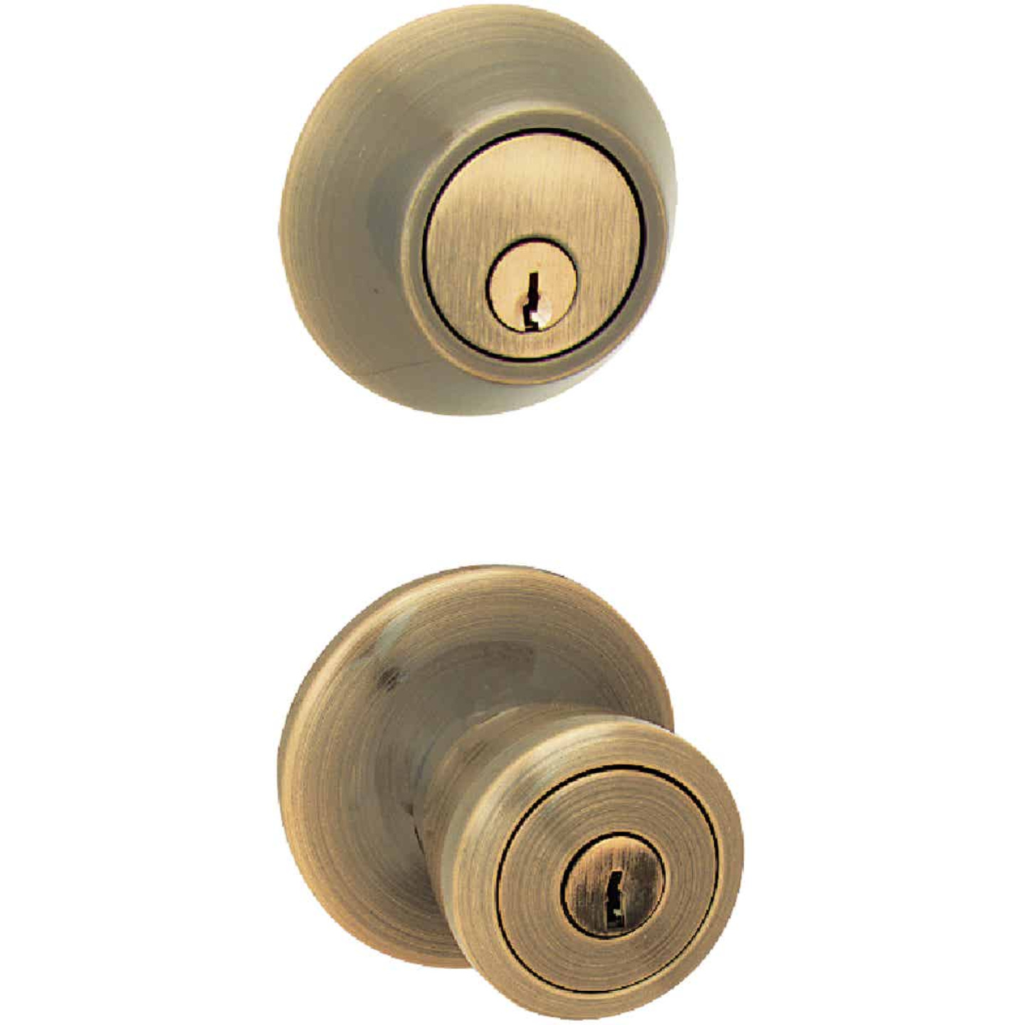 Steel Pro Antique Brass Deadbolt and Door Knob Combo Image 1