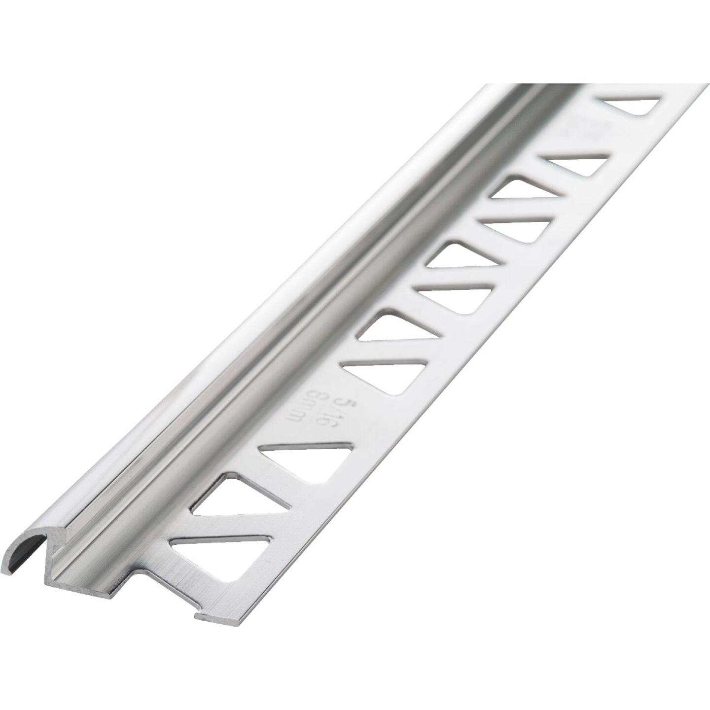 M D Building Products 3/8 In. x 8 Ft. Bright Clear Aluminum Bullnose Tile Edging Image 1