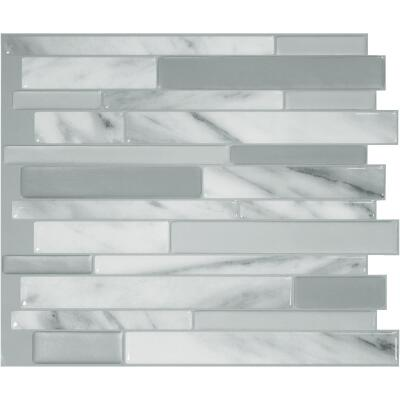 Smart Tiles 10.2 In. x 9.1 In. Glass-Like Plastic Backsplash Peel & Stick, Milano Carrera Mosaic (6-Pack)
