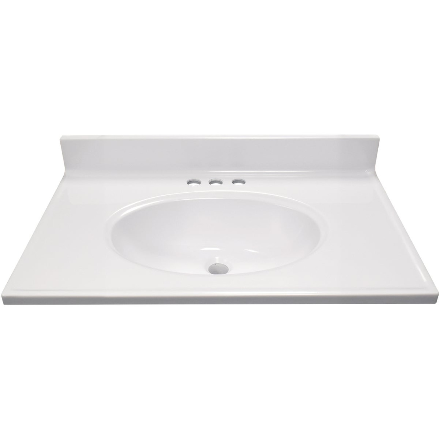 Modular Vanity Tops 31 In. W x 19 In. D Solid White Cultured Marble Non-Drip Edge Vanity Top with Oval Bowl Image 2