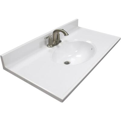 Modular Vanity Tops 37 In. W x 19 In. D Solid White Cultured Marble Vanity Top with Oval Bowl