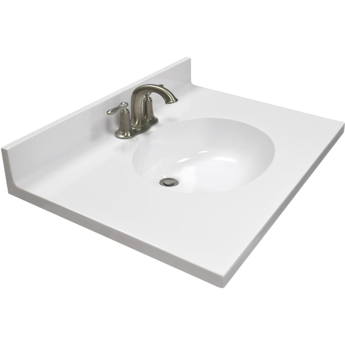 Modular Vanity Tops 31 In. W x 22 In. D Solid White Cultured Marble Vanity Top with Oval Bowl Image 1