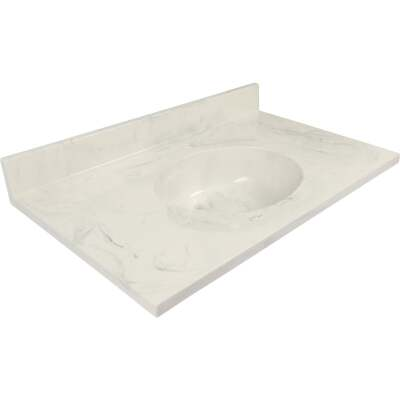Modular Vanity Tops 37 In. W x 22 In. D Marbled Dove Gray Cultured Marble Flat Edge Vanity Top with Oval Bowl