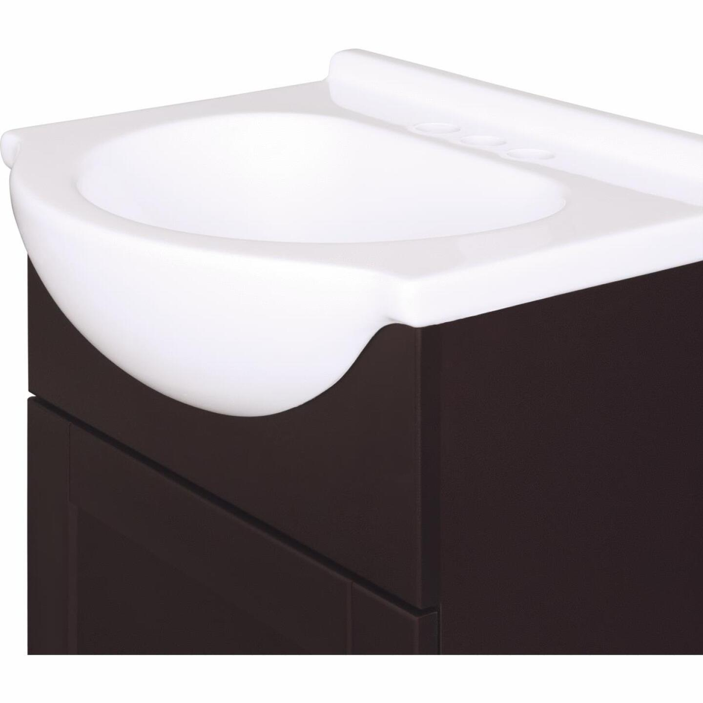 Continental Cabinets European Espresso 18 In. W x 33-1/2 In. H x 12-1/2 In. D Vanity with Cultured Marble Top Image 1