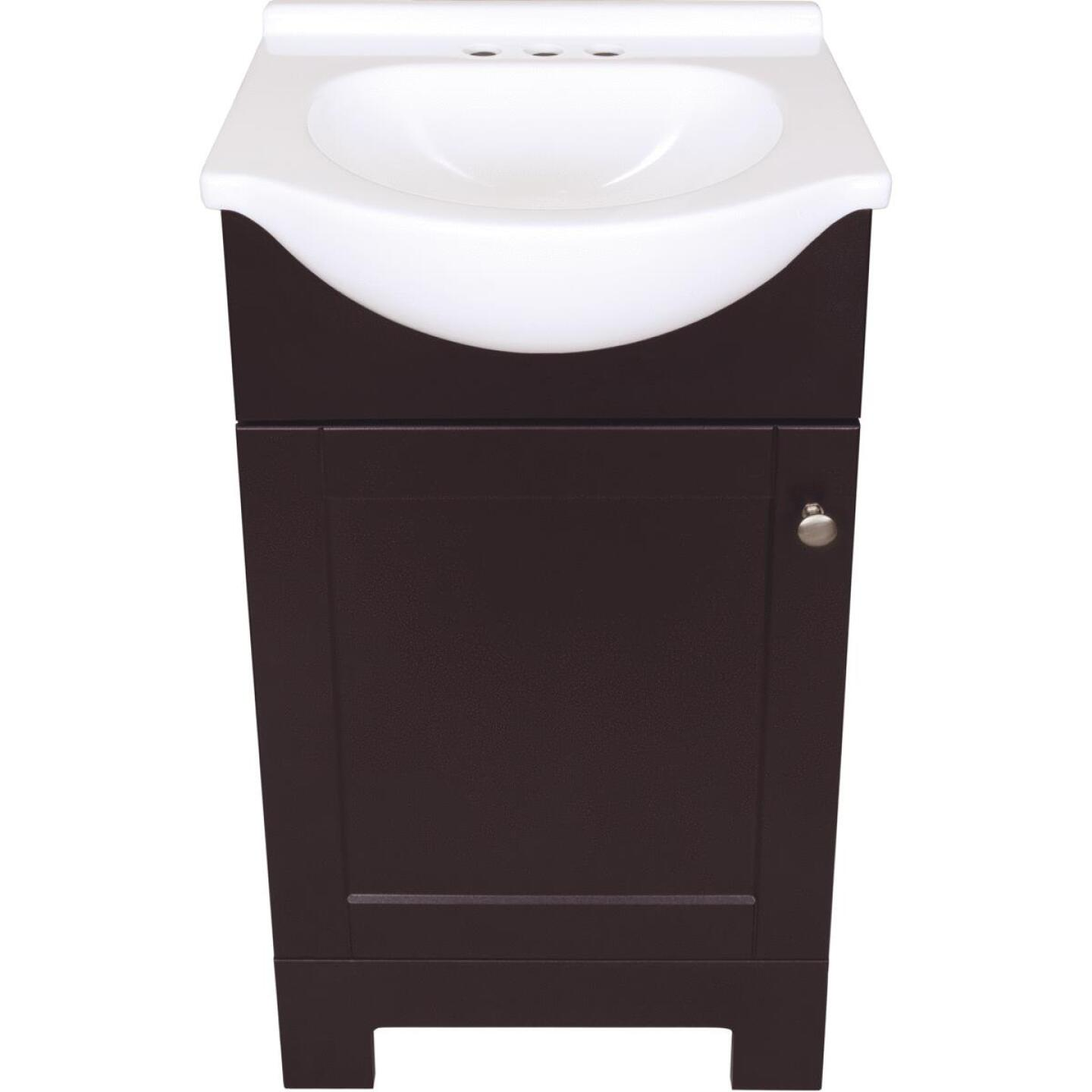 Continental Cabinets European Espresso 18 In. W x 33-1/2 In. H x 12-1/2 In. D Vanity with Cultured Marble Top Image 3