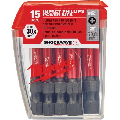 Milwaukee Shockwave #2 Phillips 2 In. Power Impact Screwdriver Bit (15-Pack)