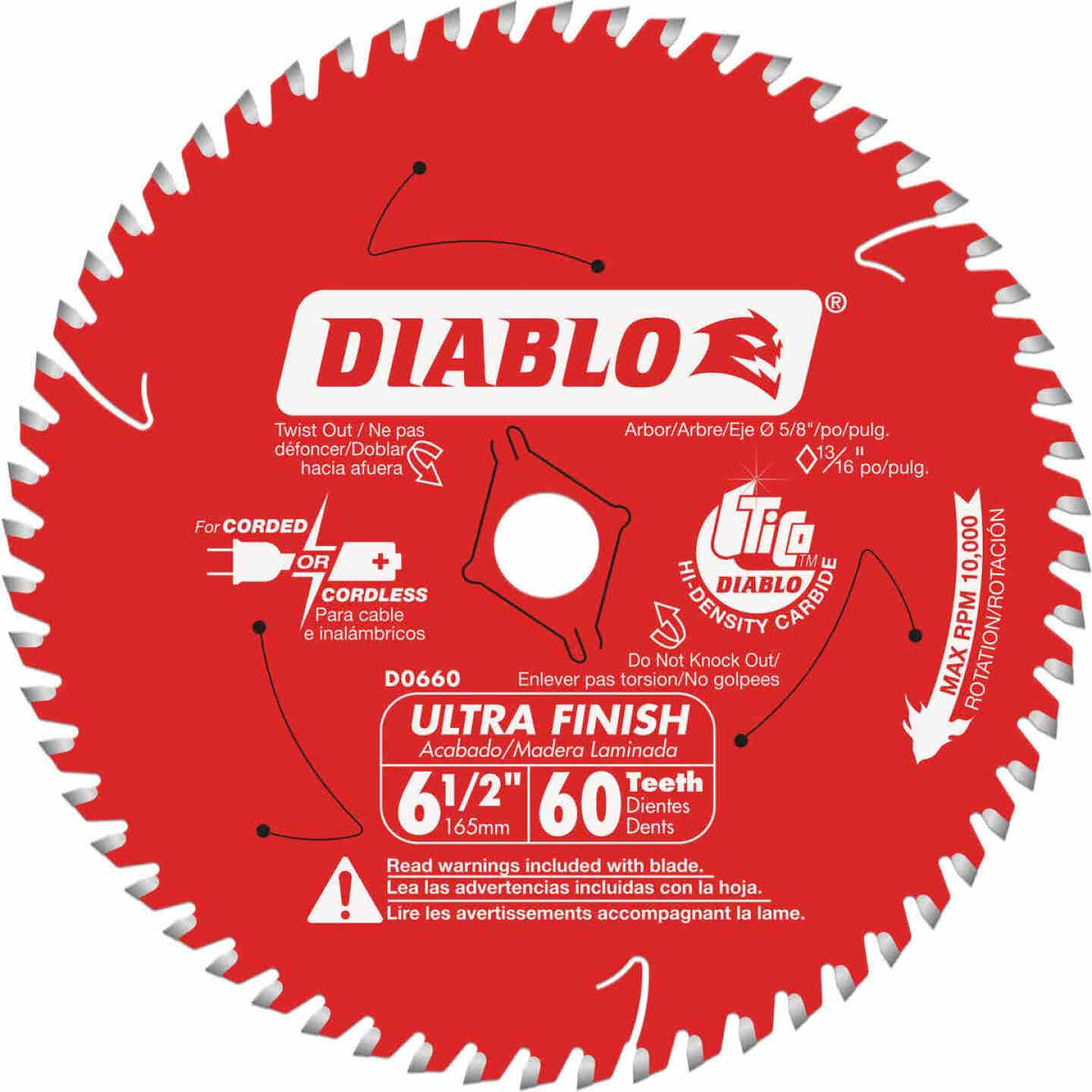 Diablo 6-1/2 In. 60-Tooth Ultra Finish Circular Saw Blade Image 1
