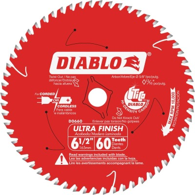 Diablo 6-1/2 In. 60-Tooth Ultra Finish Circular Saw Blade