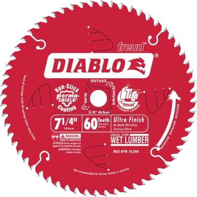 Diablo 7-1/4 In. 60-Tooth Finish/Wet Lumber Circular Saw Blade