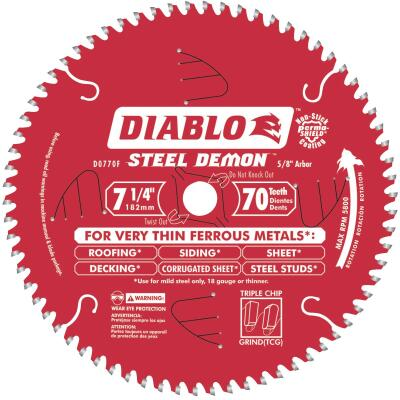 Diablo Steel Demon 7-1/4 In. 70-Tooth Thin Ferrous Metals Circular Saw Blade