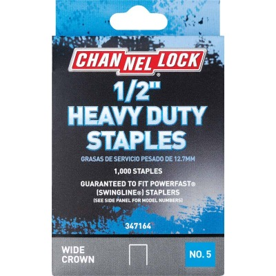 Channellock No. 5 Heavy-Duty Wide Crown Staple, 1/2 In. (1000-Pack)