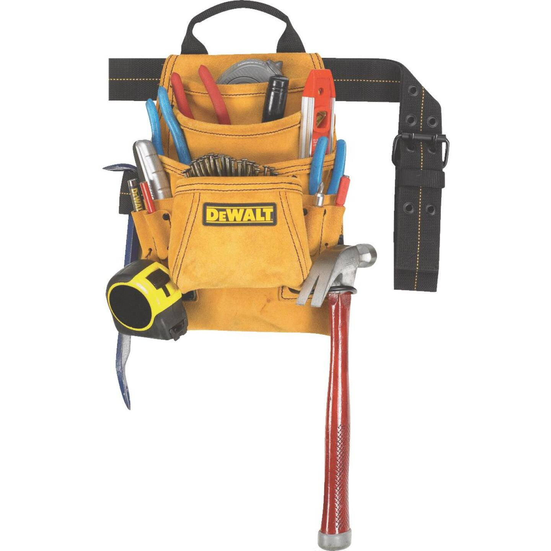 DeWalt 10-Pocket Suede Leather Carpenter's Nail & Tool Bag with Belt Image 1