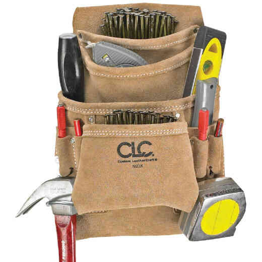 CLC 10-Pocket Suede Leather Carpenter's Nail & Tool Bag