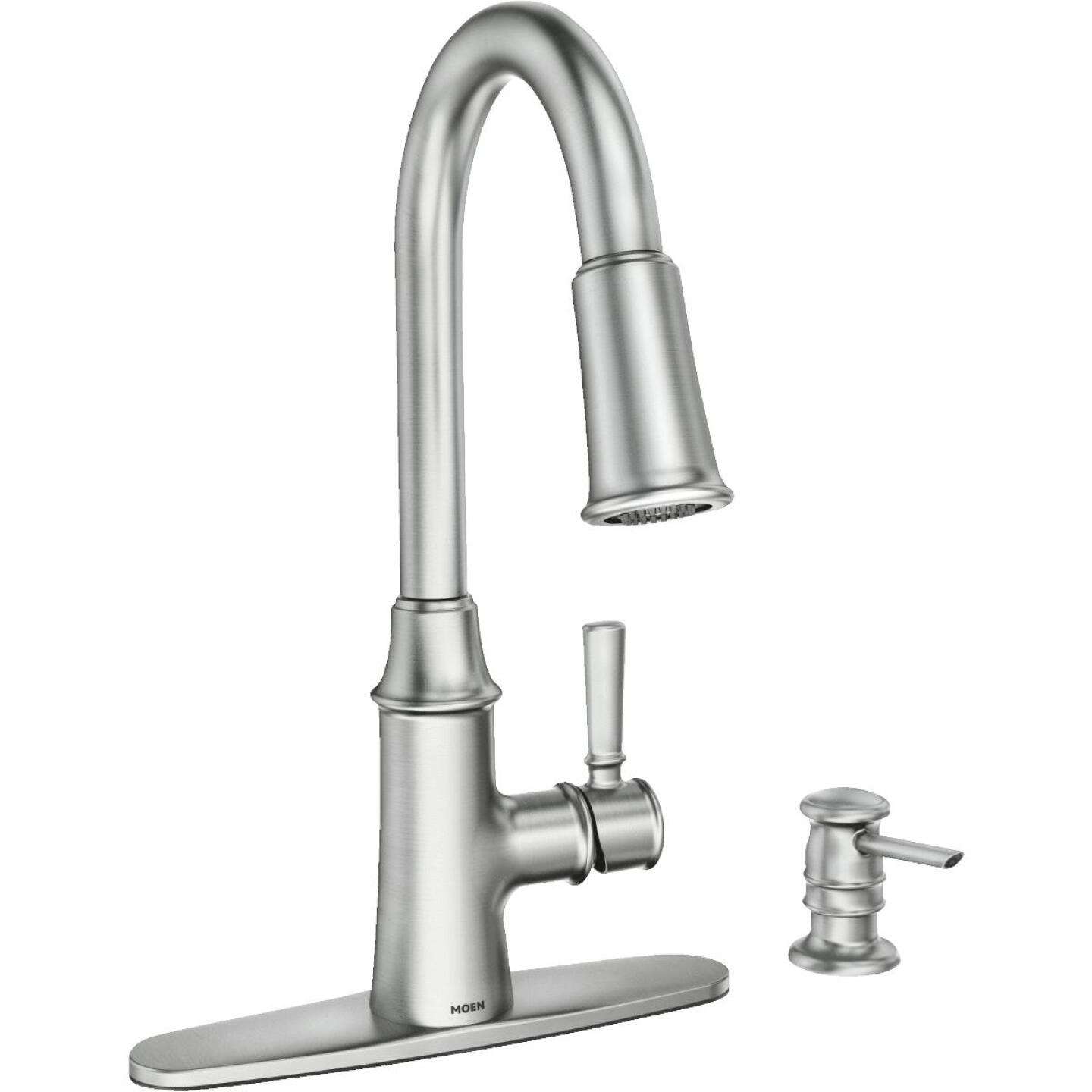 Moen Caris Single Handle Lever Kitchen Faucet with Soap Dispenser, Stainless Image 1