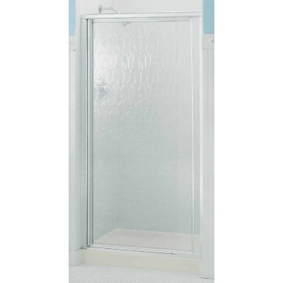 Sterling Vista Pivot II 27-1/2 In. W. X 65-1/2 In. H. Chrome Pebbled Glass Shower Door