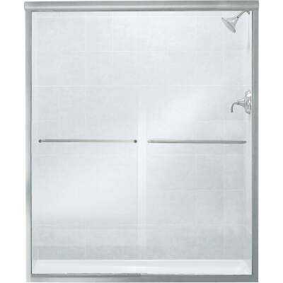 Sterling Finesse 59-5/8 In. W. X 70-5/16 In. H. Chrome Frameless Clear Sliding Shower Door
