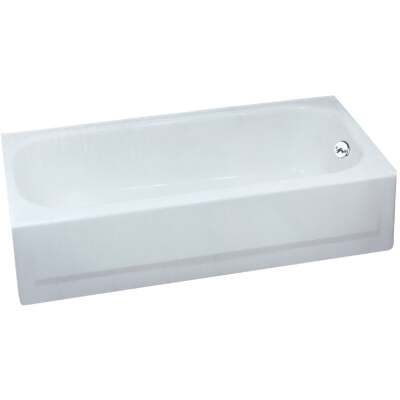 Briggs Pendant V 60 In. L x 30 In. W x 14-1/4 In. D Right Drain Bathtub in White