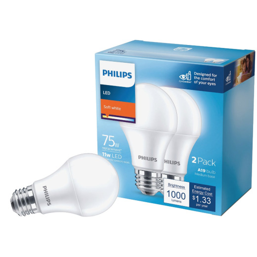 Philips 75W Equivalent Soft White A19 Medium LED Light Bulb (2-Pack)