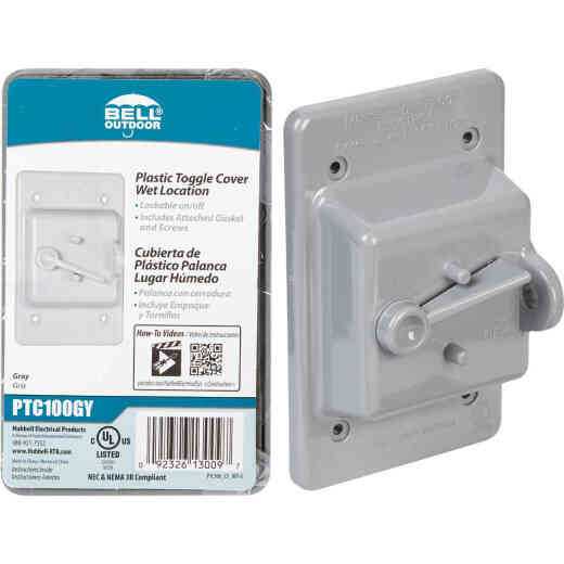 Bell Gray Single Gang Vertical Mount Weatherproof Polycarbonate Outdoor Switch Cover