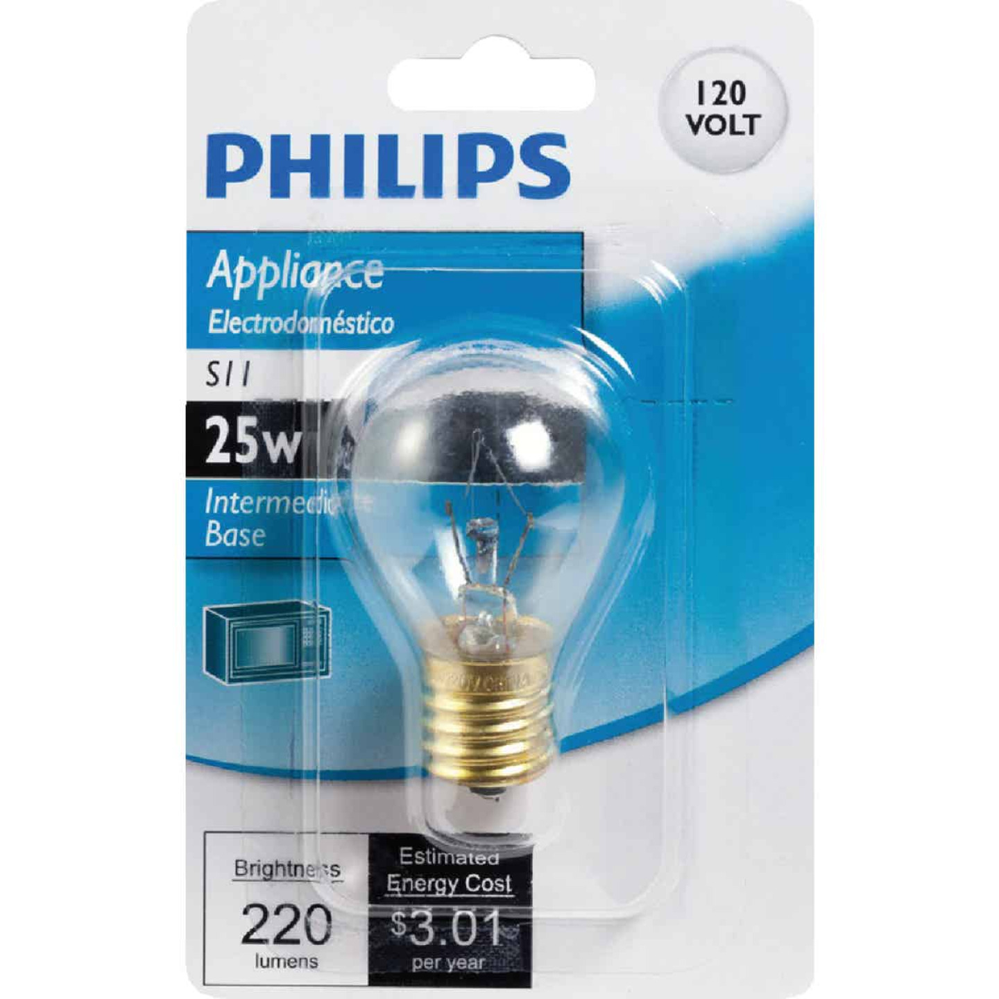 Philips 25W Clear Intermediate S11 Incandescent Appliance Light Bulb Image 2