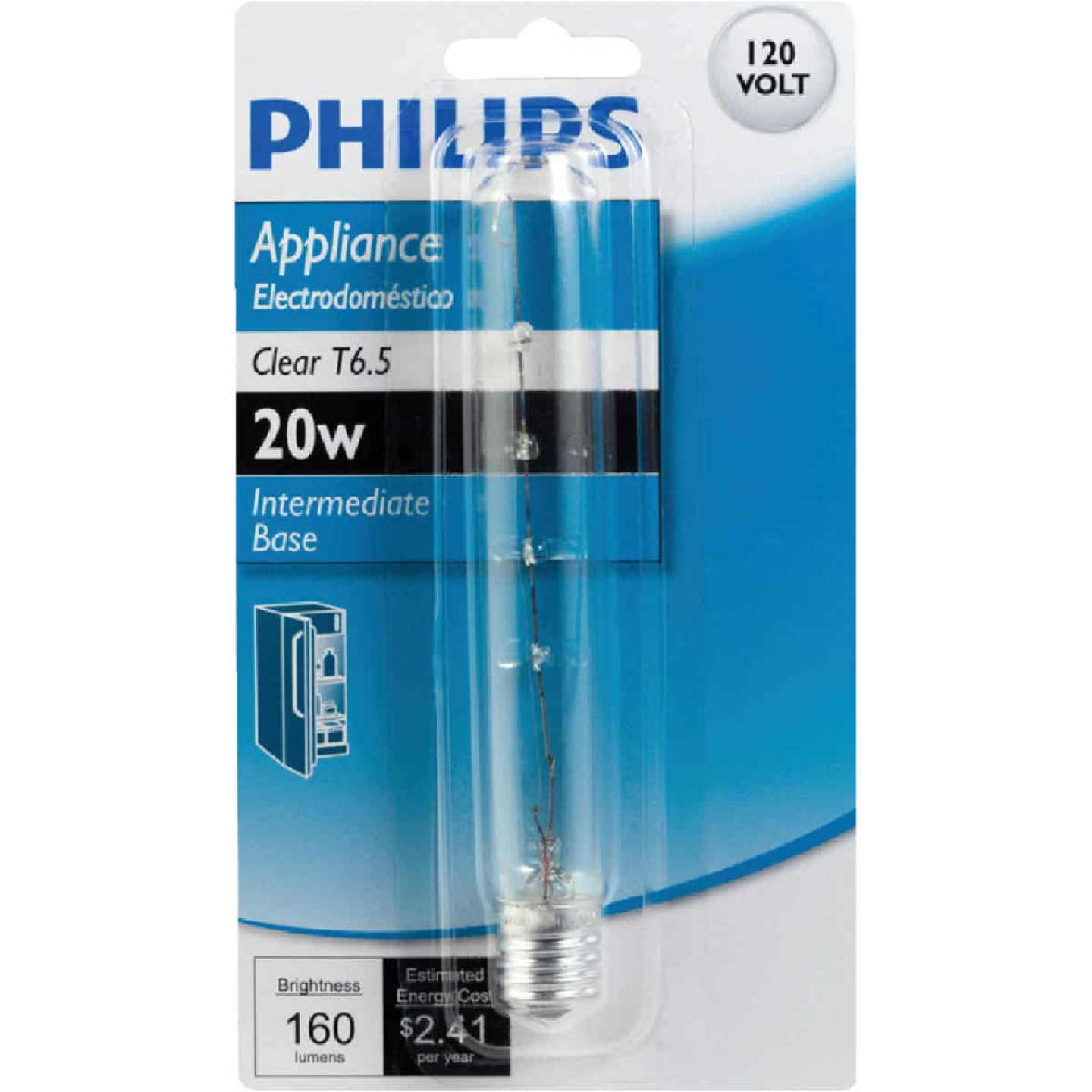 Philips 20W Clear Intermediate T6.5 Incandescent Appliance Light Bulb Image 2