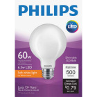 Philips 60W Equivalent Soft White G25 Medium Frosted LED Decorative Light Bulb Image 1