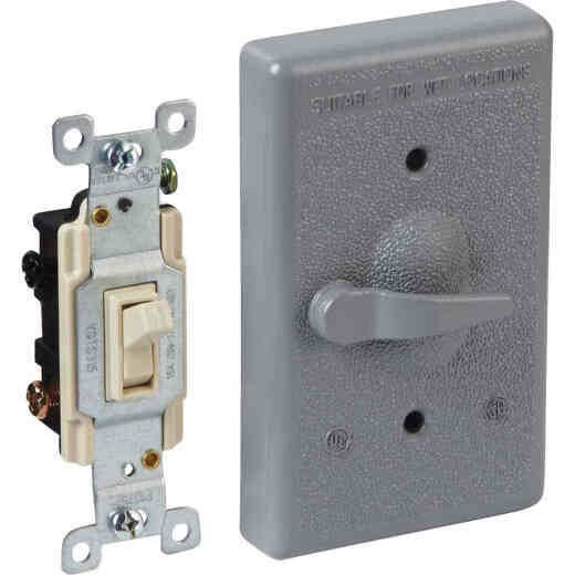 Bell Gray 3-Way Vertical Mount Outdoor Switch Cover