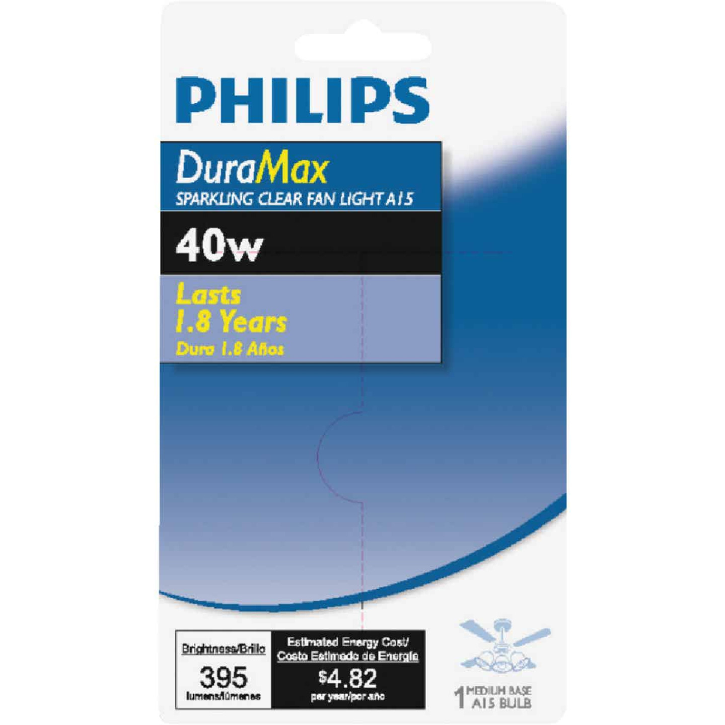 Philips DuraMax 40W Clear Medium A15 Incandescent Ceiling Fan Light Bulb Image 2