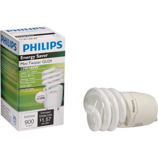 Philips Energy Saver 60W Equivalent Cool White GU24 Base Spiral CFL Light Bulb