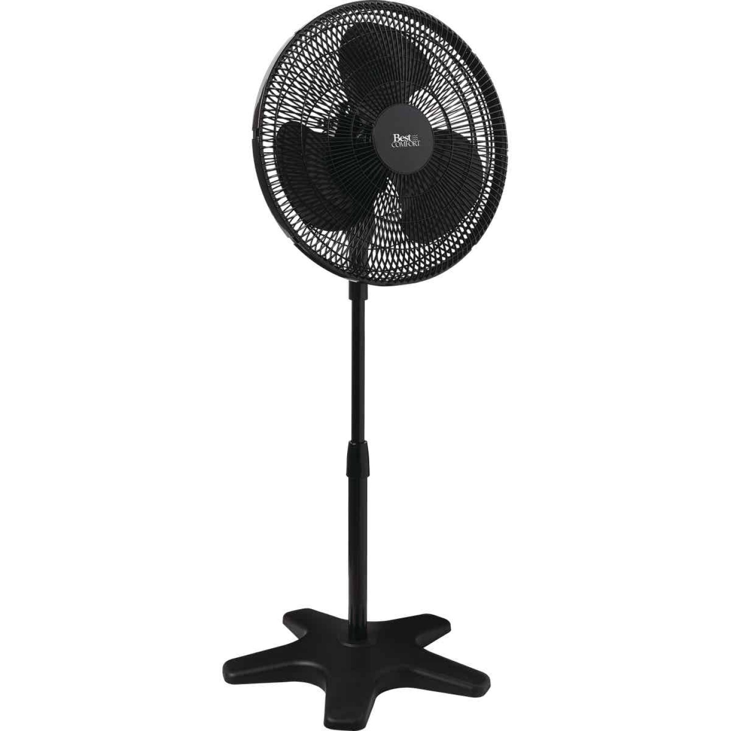 Best Comfort 16 In. 3-Speed 38 In. to 49 In. H. Black Oscillating Pedestal Fan Image 1
