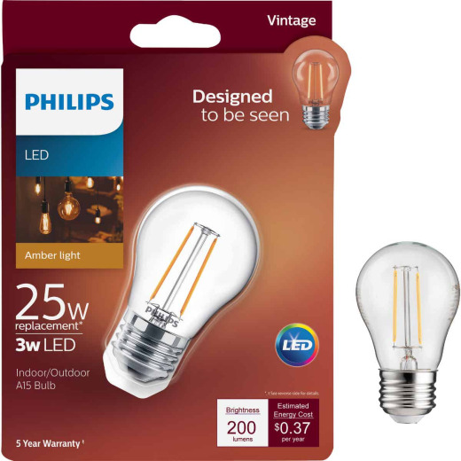 Philips Vintage Edison 25W Equivalent Soft White A15 Medium LED Decorative Light Bulb
