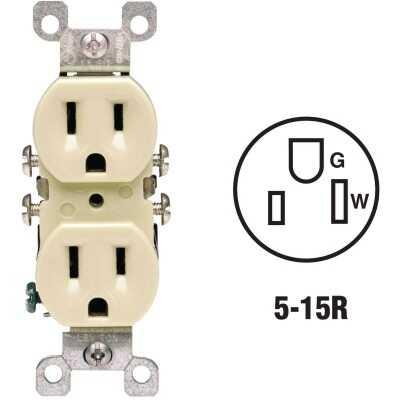 Leviton 15A Ivory Residential Grade 5-15R Copper/Aluminum Duplex Outlet