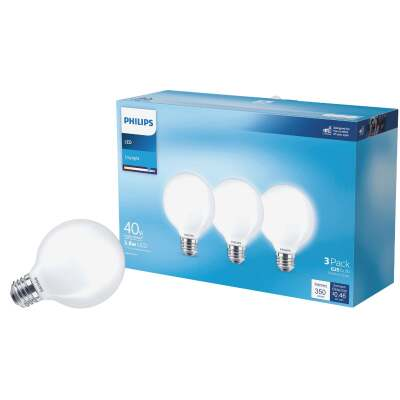 Philips 40W Equivalent Daylight G25 Medium Clear LED Decorative Light Bulb (3-Pack)