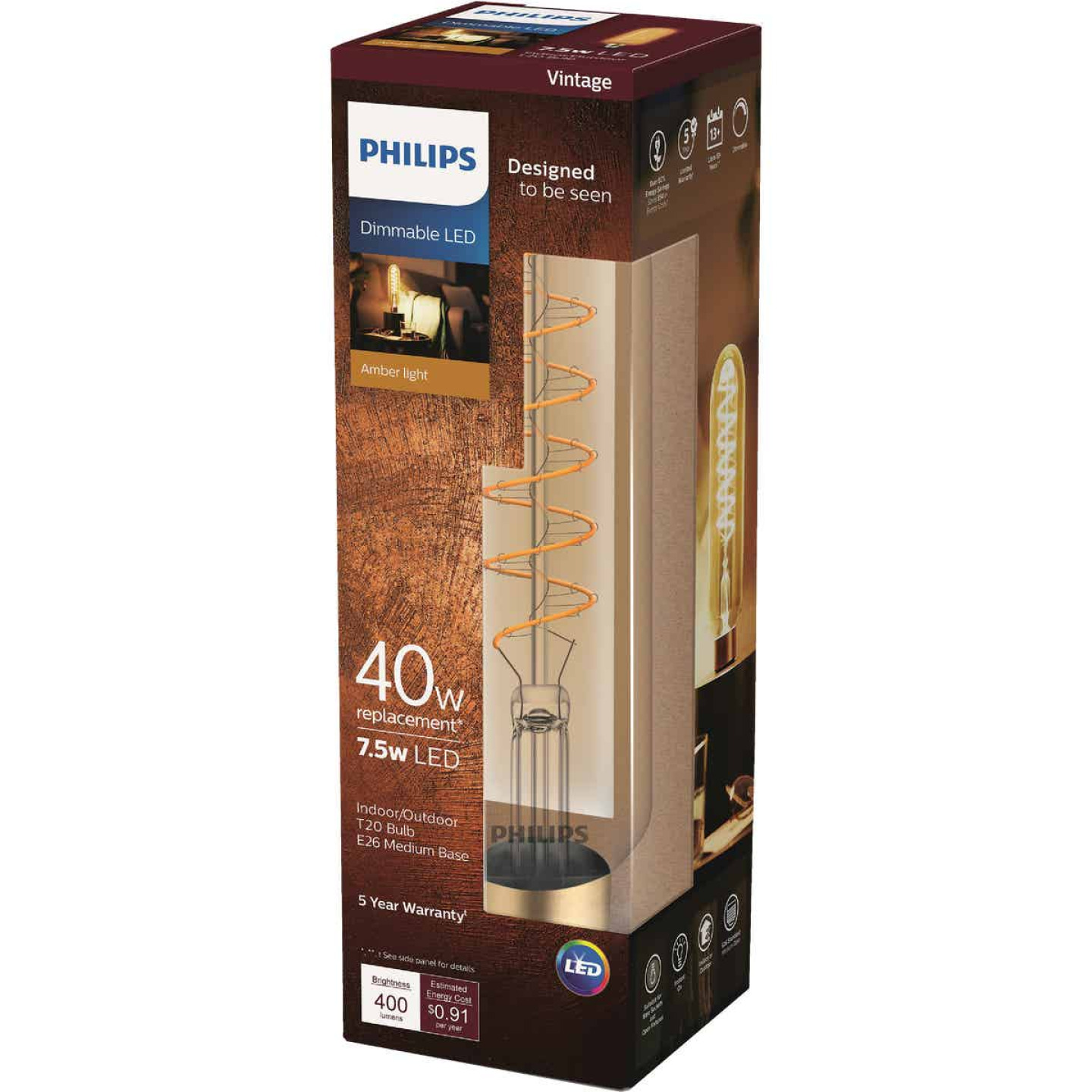 Philips Vintage Edison 40W Equivalent Amber T20 Medium LED Decorative Light Bulb Image 1