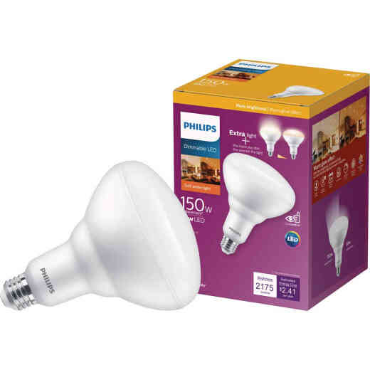 Philips Warm Glow 150W Equivalent Soft White BR40 Medium Dimmable LED Floodlight Light Bulb