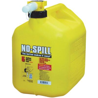 No-Spill 5 Gal. Plastic Diesel Fuel Can, Yellow