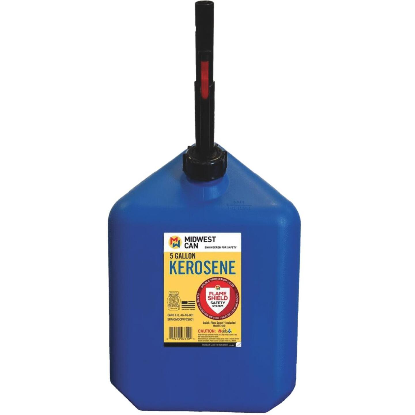 Midwest Can 5 Gal. Plastic Auto Shut Off Kerosene Fuel Can, Blue Image 1