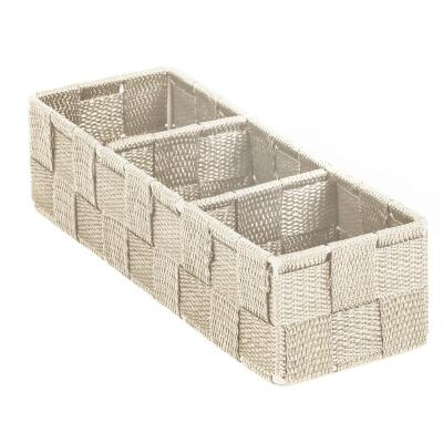 Home Impressions 3.25 In. W. x 2.25 In. H. x 9.5 In. L. Woven Storage Tray, Beige