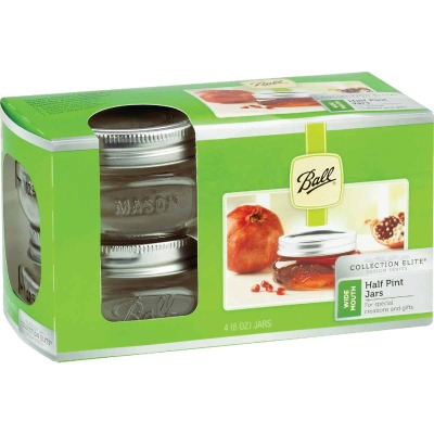 Ball Collection Elite 1/2 Pint Wide Mouth Mason Canning Jar (4-Count)