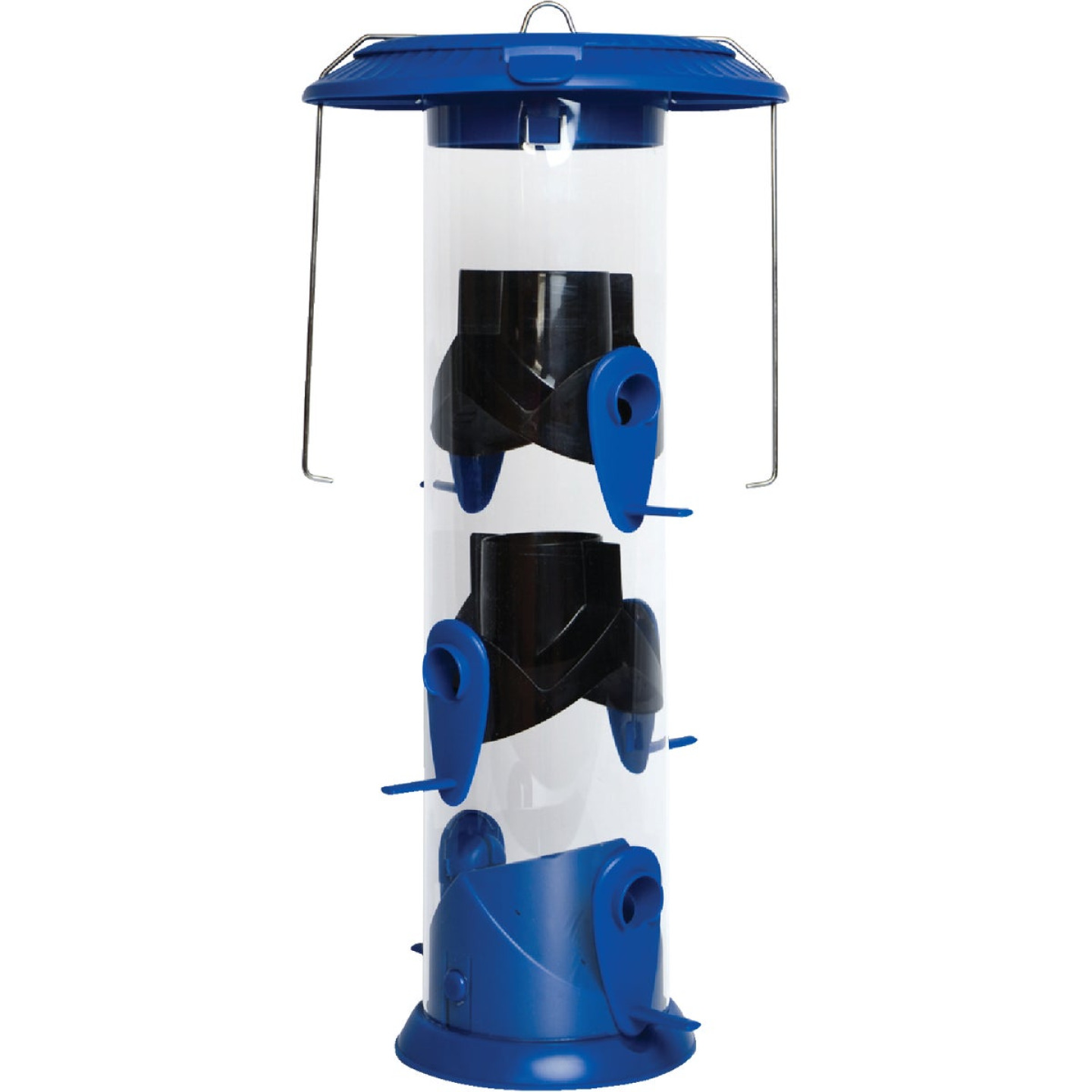 Nature's Way Funnel Flip Top Blue Poly Wide Tube Bird Feeder Image 1