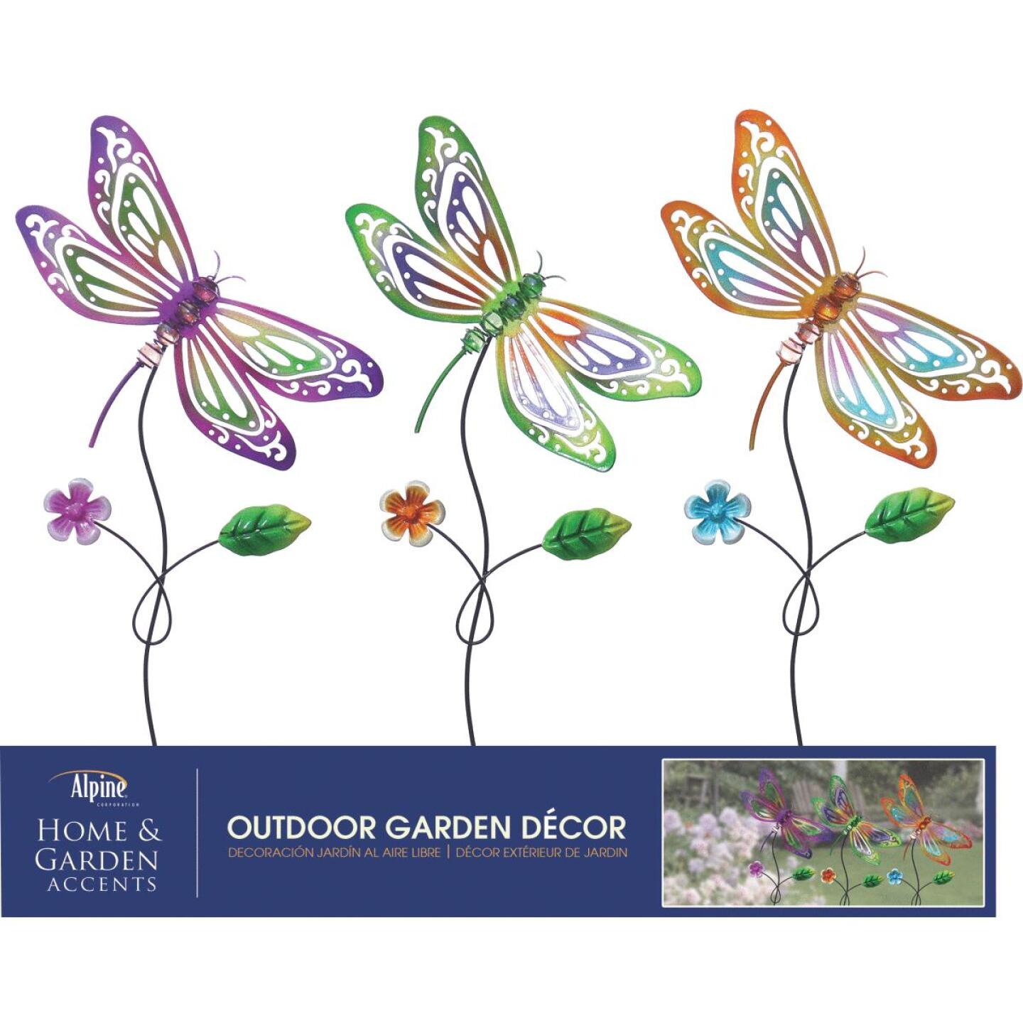 Alpine 24 In. H. Metal Dragonfly Garden Stake Lawn Ornament Image 2