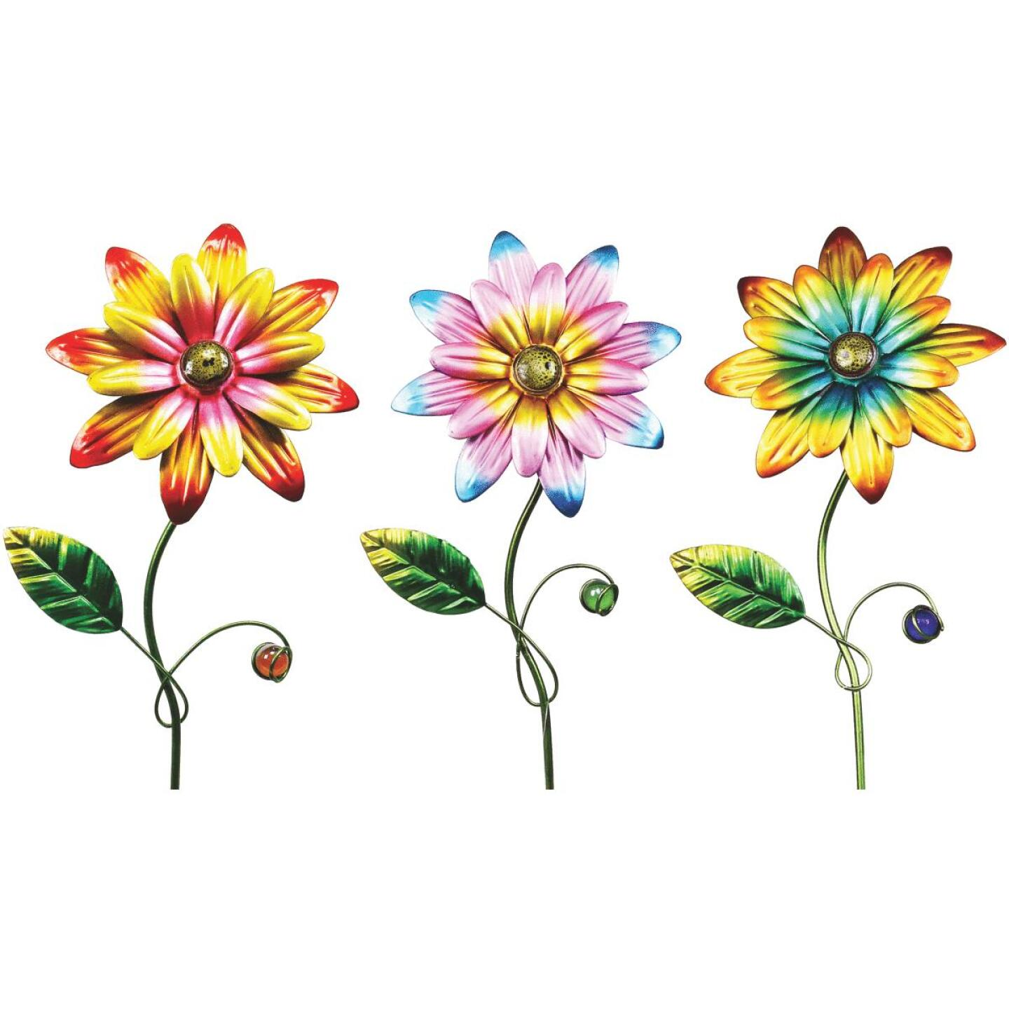 Alpine 15 In. Metal Daisy Garden Stake Lawn Ornament Image 1