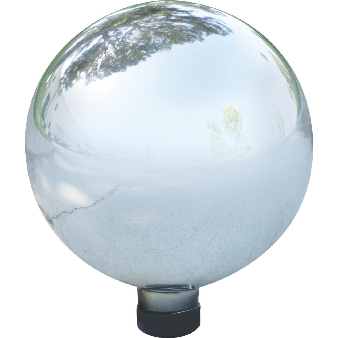 Alpine 10 In. Dia. Electric Silver Glass Gazing Globe Lawn Ornament Image 1