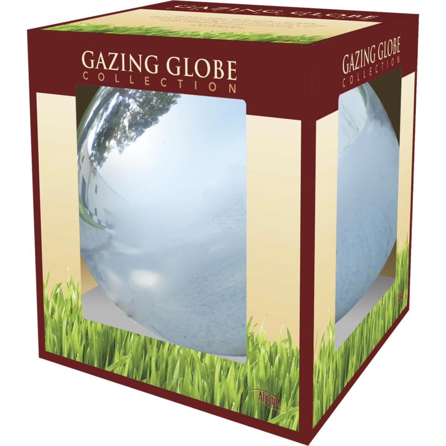 Alpine 10 In. Dia. Electric Silver Glass Gazing Globe Lawn Ornament Image 2