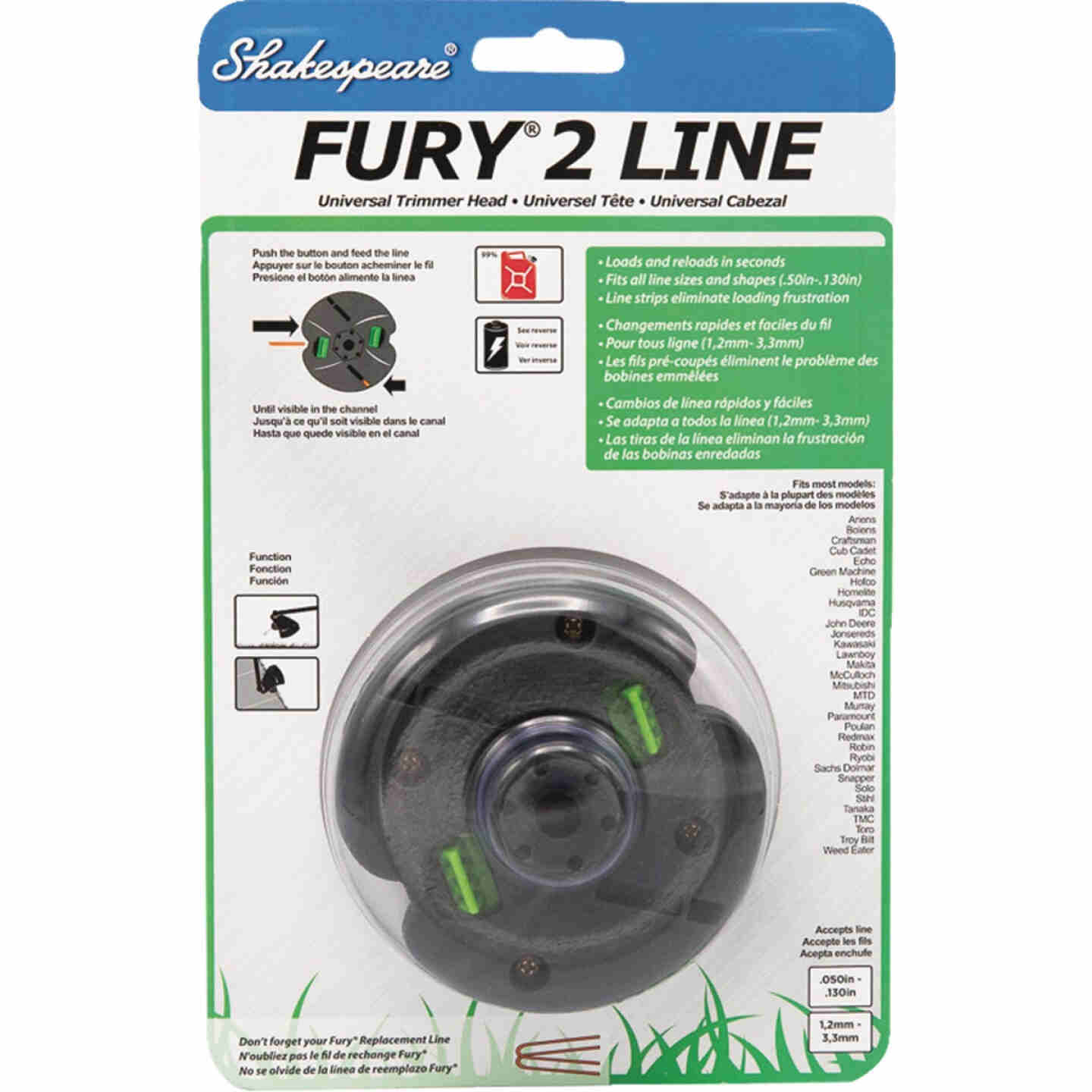 Shakespeare Fury 2 Universal Shaft Replacement Trimmer Head Image 1